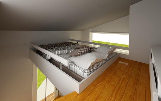 こちら寝室。縦横3メートルの空間寝室で快適な睡眠を。